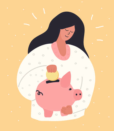 Young Woman Putting a gold Coin Into a Piggy Money Box. People Saving and Collect Money. Hand drawn cute style. Vecor illustration.