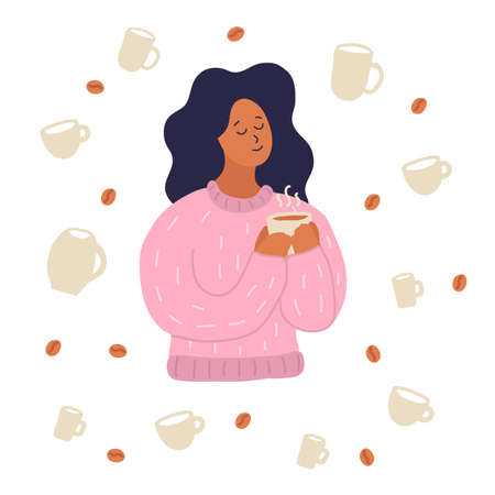 Young woman drinks coffee holds cup in her arm. Pink sweater. Many cups and coffee beans around. love coffee. Enjoy, happiness. Hand drawn cartoon style vector illustration isolated on white.