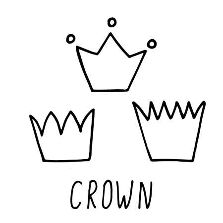 Hand drawn doodle crown with hand written lettering. three pieces. Simple vector illustration with black stroke isolated on white background.