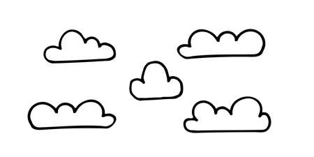 doodle cloud illustration hand drawn vector. Some simple clouds on the sky. Thick black stroke isolated on white background. Illustration