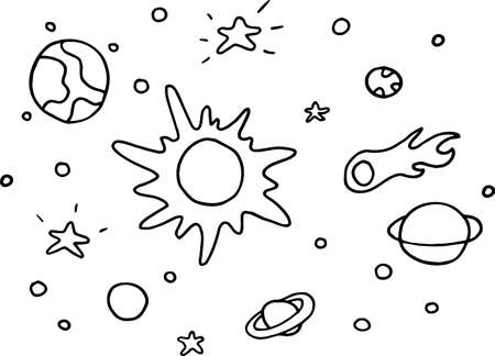 Hand drawn solar system with sun, planets, asteroids and other outer space objects. Cute and decorative doodle style line art. Vector illustration isolated on white.