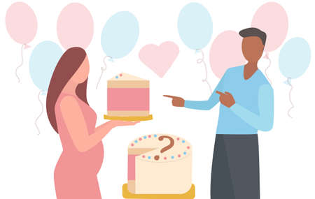 Babe gender reveal Announcement party. Pregnant woman hold a piece of pink cake for baby shower party. Her husband is happy. many pink and blue ballons behind them. Trendy flat vector Vectores
