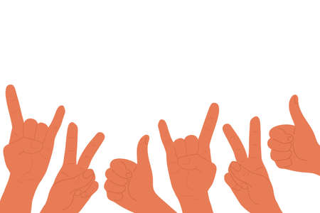 Hands with two fingers up peace victory, thumbs up and Rock roll heavy metal sign of the horns. Flat cartoon. Social network likes, approval, customers feedback concept with copy space isolated on white