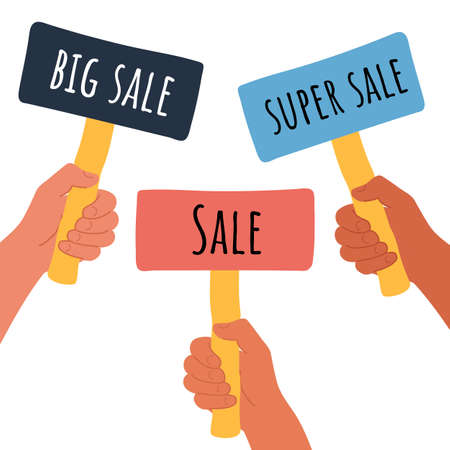 Placard Cartoon vector illustration of Sale Super and big Sale banner in human hand on white background. Test question. Choice hesitate, dispute, opposition, choice, dilemma, opponent view. Beige shaft and Pink paper.