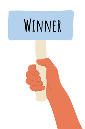 placard in hand. Cartoon vector illustration of Winner banner in human hand on white background. Test question. Choice hesitate, dispute, opposition, choice, dilemma, opponent view. Beige shaft and Pink paper Illustration