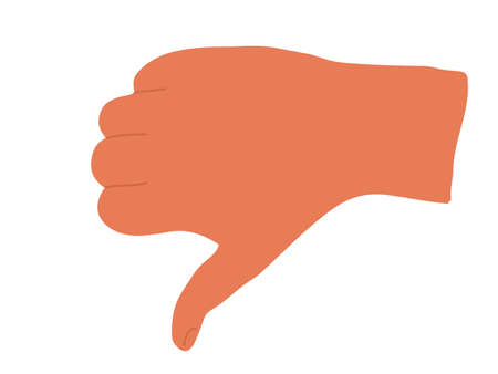 Thumb down hand, dislike. Hand showing dislike, negative, bad sign. Isolated flat vector illustration. Hand drawn stylized graphic illustration