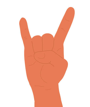 A hand up showing Rock sign. Communication gestures concept. Isolated flat vector illustration. Hand drawn stylized graphic illustration.  Vectores