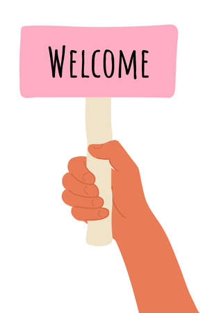 placard in hand. Cartoon vector illustration of Welcome banner in human hand on white background. Test question. Choice hesitate, dispute, opposition, choice, dilemma, opponent view. Beige shaft and  Pink paper