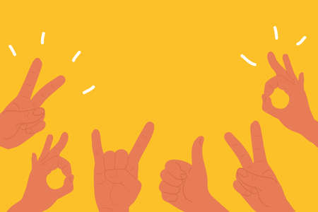 Hands with two fingers up peace victory, thumbs up and Rock roll heavy metal sign of the horns and Ok. Flat cartoon. Social network likes, approval, customers feedback concept with copy space isolated on yellow