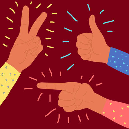 Vector flat style pointing, victory and Thumbs up fingers hand gesture. Afro American dark skin color. sign show and to specify, clarify emotion. colorful clothes. Pointing up female hand. Isolated on red background. Çizim