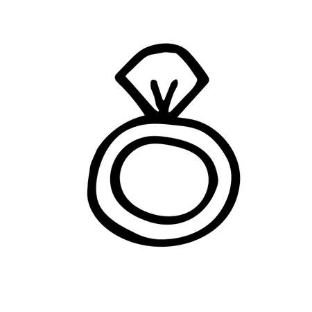 Hand drawn doodle ring with stone, childisj jewelry. Simple vector illustration with black stroke isolated on white background.