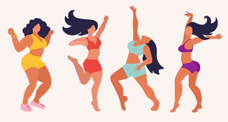 Young women dance. Black hair, purple, red, green and yellow underwear, naked legs. Four free beautiful girls have fun. happiness and freedom. Girl power. Hand drawn vctor illustration isolated on colored background. Illustration