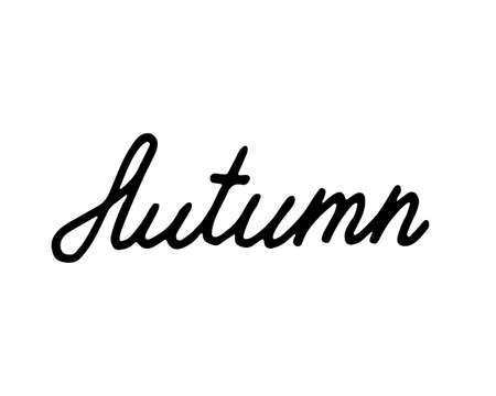 Hand drawn lettering Autumn. Simple childish letters with black stroke isolated on white background. Web design, invitation.