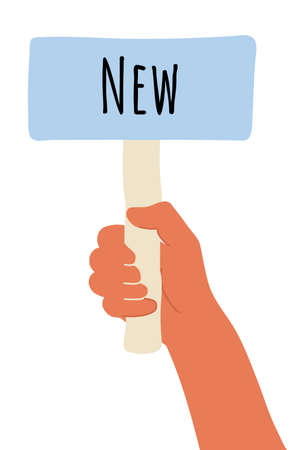 placard in hand. Cartoon vector illustration of New banner in human hand on white background. Test question. Choice hesitate, dispute, opposition, choice, dilemma, opponent view.