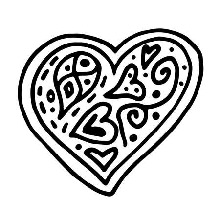 Hand drawn sketch outline heart isolated on white background. Doodle heart filled with drawings and patterns, dots, swirls and lines
