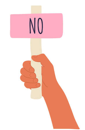 Cartoon vector illustration of No banner in human hand on white background. Test question. Choice hesitate, dispute, opposition, choice, dilemma, opponent view. Beige shaft and  Pink paper