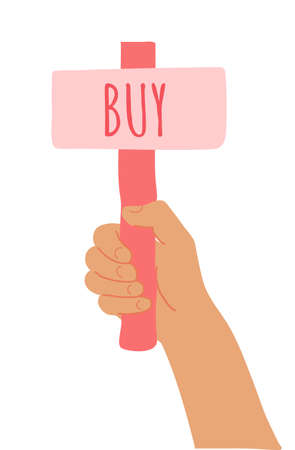 Cartoon vector illustration of Buy banner in human hand on white background. Test question. Choice hesitate, dispute, opposition, choice, dilemma, opponent view. Red shaft and pink paper