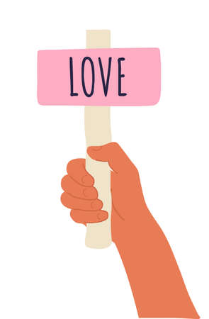 Cartoon vector illustration of Love banner in human hand on white background. Test question. Choice hesitate, dispute, opposition, choice, dilemma, opponent view. Beige shaft and pink paper Illustration