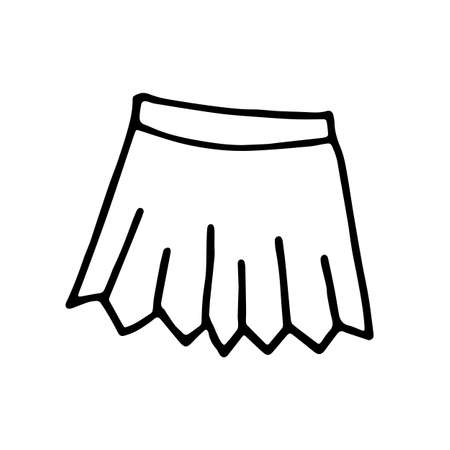 Hand drawn sketch outline skirt isolated on white background. pleated skirt with pleats. Item of the school uniform. Children s women s short skirt.