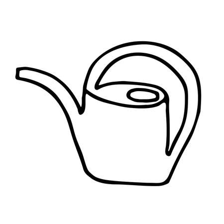 Hand drawn doodle children's watering can. Black stroke. Simple funny vector illustration isolated on white background