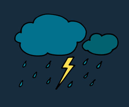 Colored Hand drawn doodle rainy clouds with yellow lightning and blue drops. Vector illustration isolated on white. Simple black line, childish style.