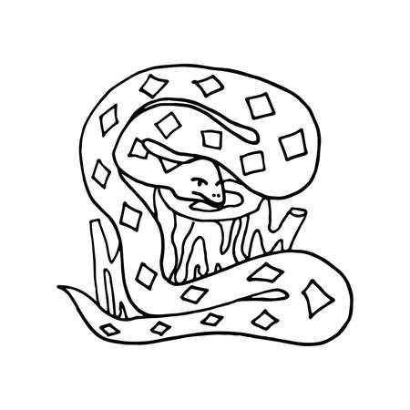 Hand drawn doodle snake on the wooden stump. a snake has a diamond pattern on its skin. Dangerous animal in wild nature. Vector illustration isolated on white.