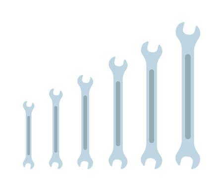 Set of Wrench icon flat elements. From small to large. Size Grey colored vector illustration of wrench icon flat isolated on clean background for web mobile app logo design