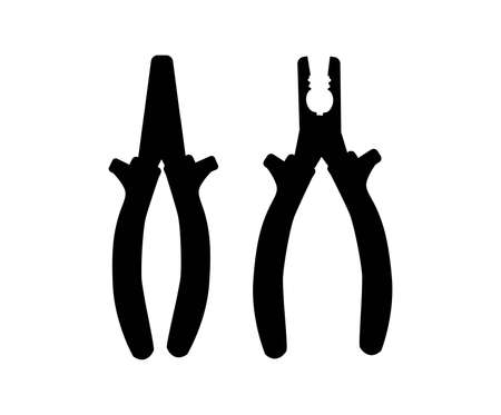 black silhouette of a bench tool. thick metallic tip or sponge pliers. Simple vector illustration isolated on white background