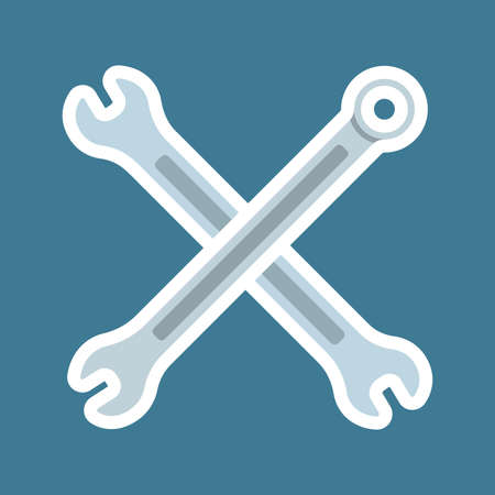 Two crossed Wrenches. Sticker with thick white stroke. icon flat element. vector illustration of wrench icon flat isolated on blue background web app logo design.