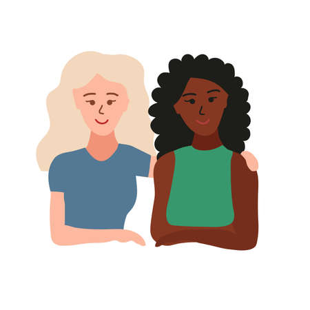 girlfriends. Two women with black and white skin hug each other. female friendship. Caucasian and african girls. Cartoon vector iilustration isolated on white background.