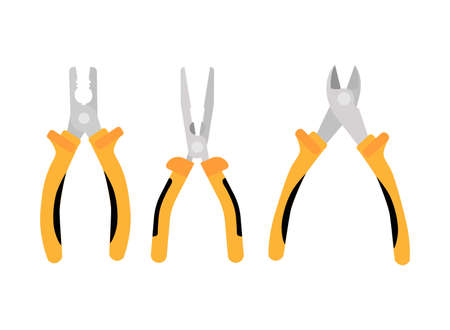 Open yellow side cutters and pliers with thin and thick sponge pliers. Repair tools are isolated on white background, flat vector illustration