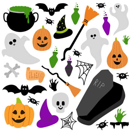 Cute Halloween set with scarry day symbols. Funny cartoon Ghost, pumpkin, poison bottle, jaws, witch hat are on white background Illusztráció