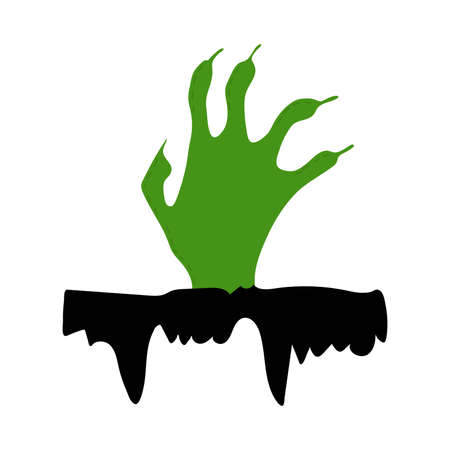 the green hand of the dead man emerges from the black earth. Sharp claws reach up. Halloween scary illustration. cartoon Vector isolated on white background