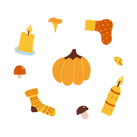 autumn orange pumpkin surrounded by candles, mushrooms, socks. Cozy concept by Hugge. vector illustration isolated on white background. 向量圖像