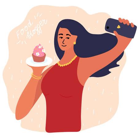 food blogger making photo selfie with cupcake for blog or vlog review. Cute brunette girl with smartphone camera. Golden earrings, beads, bracelet. Social media Vector cartoon illustration