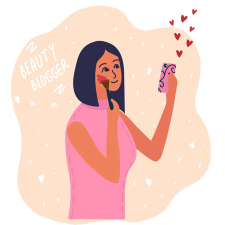 Woman beauty blogger apply blush to cheeks. makeup tutorials. Creating content and posting it on social media. online channel concept, female video streamer cartoon vector illustration