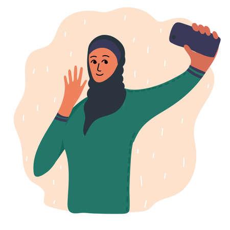 Arabian muslim blogger making photo selfie for blog or vlog review. Cute brunette girl with smartphone camera. Golden earrings, beads, bracelet. Social media Vector cartoon illustration.