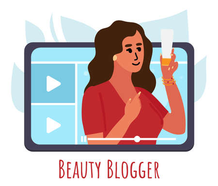 Beauty blogger showing trend makeup tutorial with cream. woman creating content and posting on social media. Vector flat. 일러스트