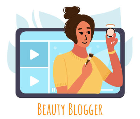 Beauty blogger showing trend makeup tutorial with compact powder. woman creating content and posting on social media. Vector flat.