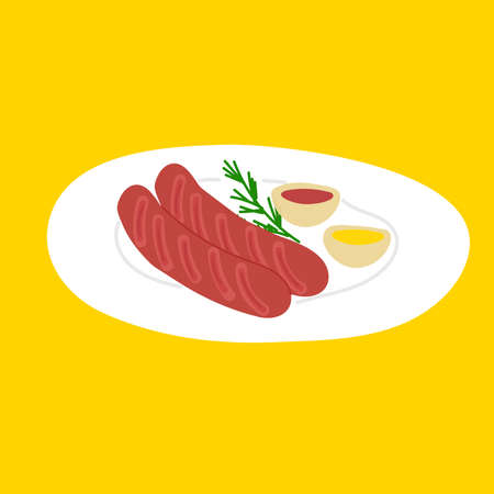 Two sausages lie on the grill with two sauces - mustard and ketchup. Vector illustration is isolated on yellow background.