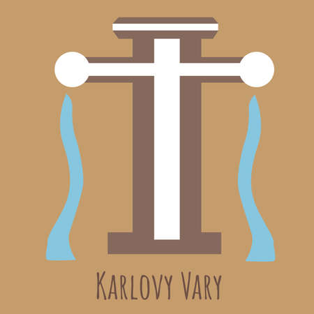 Cartoon flat mineral spring in Karlovy Vary.Symbol of Czech. Vector flat illustration isolated on white background