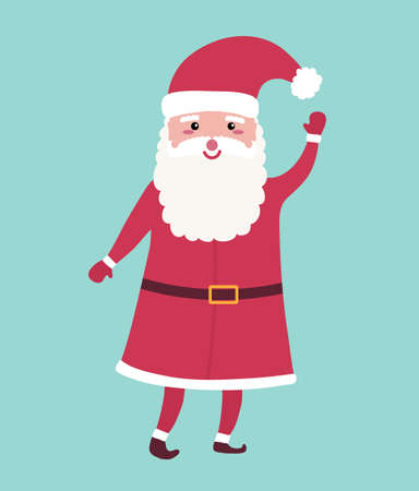 Cute Christmas Santa Claus with opened eyes, hat and red costume. Funny hand drawn person with mittens. Vector illustration Ilustracja