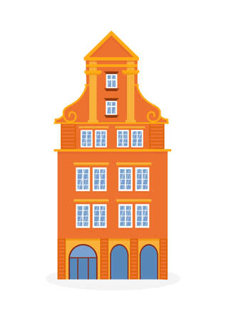 european colorful old house. Dutch style. orange historic facade. Traditional architecture of Netherlands or Poland. Vector illustration flat cartoon style. Vectores