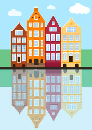 Amsterdam old house in the Dutch style. street in Amsterdam with traditional buildings, reflections in the water, blue sky. vector illustration in flat style. Vectores