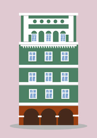 European colorful old house. Dutch style. green historic facade. Traditional architecture of Netherlands or Poland. Vector illustration flat cartoon style. Vectores