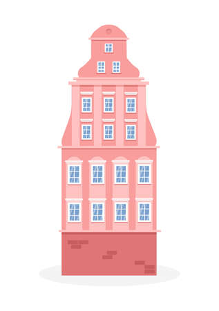 European colorful old house. Dutch style. Pink historic facade. Traditional architecture of Netherlands or Poland. Vector illustration flat cartoon style.