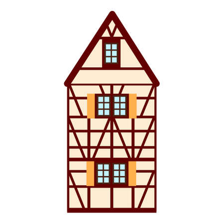 Old german house with red wooden beams. beige and brown colored half timbered building. Flat facades of european framing houses, cottages Vetores