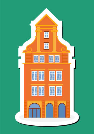 Sticker of european colorful old house. Dutch style. orange historic facade. Traditional architecture of Netherlands or Poland. Vector illustration flat cartoon style