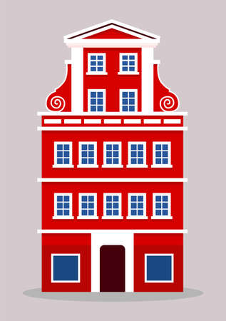 european colorful old house. Dutch style. Red and white historic facade. Traditional architecture of Netherlands or Poland. Vector illustration flat cartoon style. Vectores