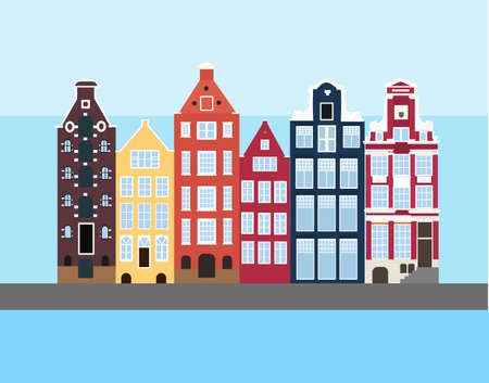 Set of Amsterdam old houses in the Dutch style. Colorful historic facade, water chanal and skyline. Traditional architecture of Netherlands. Vector illustration flat cartoon style. Vectores